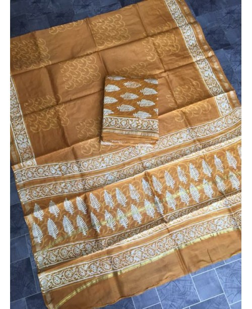 CHANDERI SILK BLOCK PRINT SUIT(OUT OF STOCK)