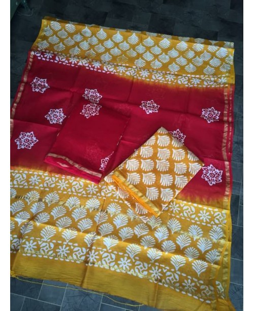 CHANDERI SILK BLOCK PRINT ( SOLD)