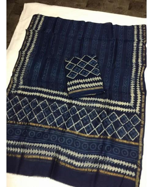 Indigo chanderi silk cotton suit