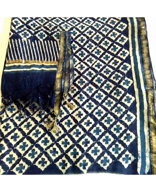 Chanderi silk cotton indigo suit(SOLD)