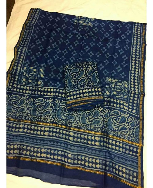 Chanderi silk cotton indigo suit ( SOLD)