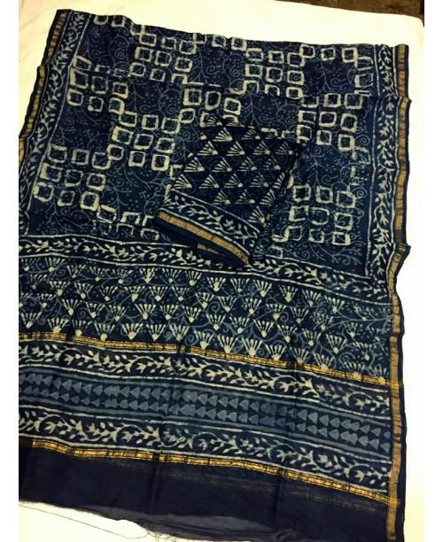 Chanderi silk cotton indigo suit ( SOLD)