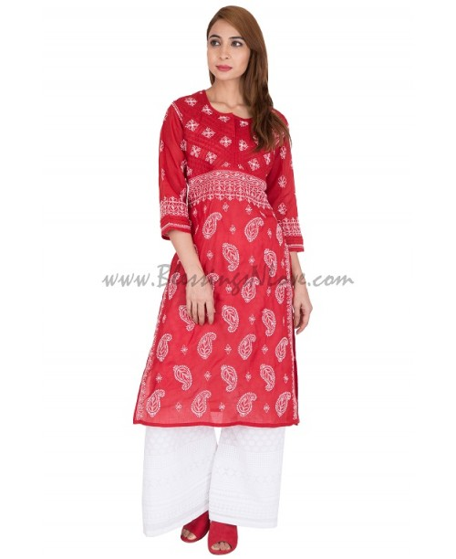 Red chikankari kurti (out of stock)