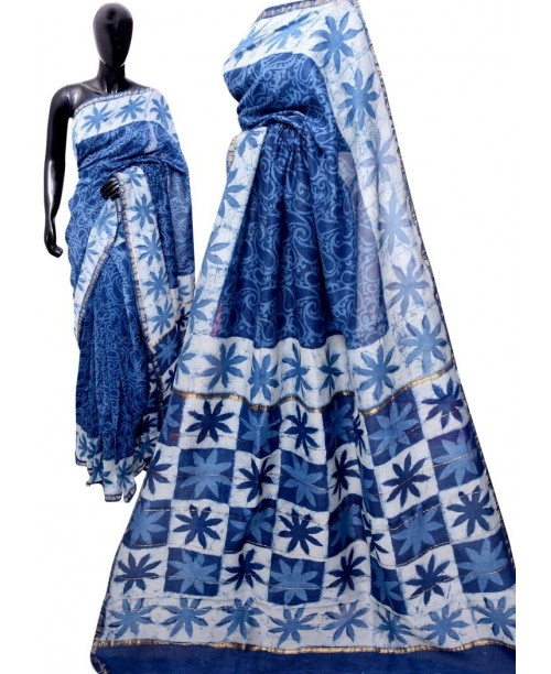 Chanderi Block Print Indigo Saree(OUT OF STOCK)