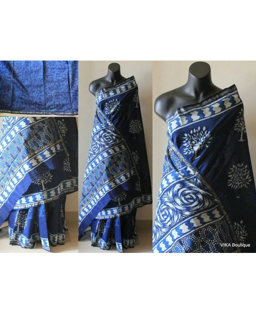 Chanderi Block Print Indigo Saree ( SOLD )