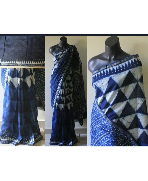 Chanderi Block Print Indigo Saree