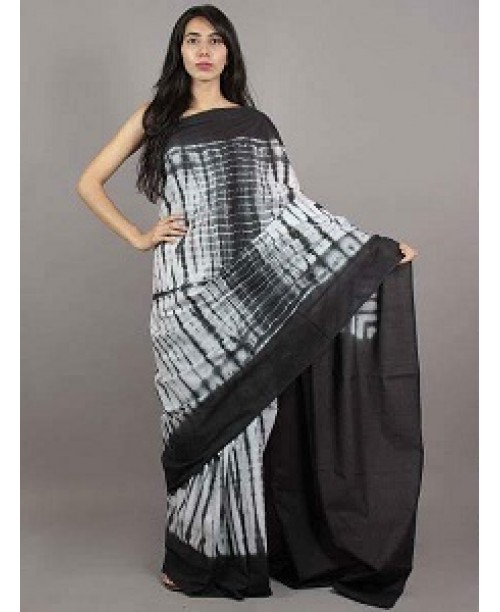 Cotton Block Print Shibori Saree