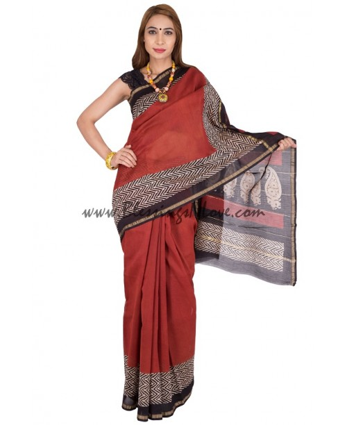 Chanderi Block print saree