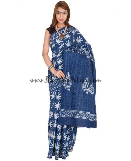 Indigo Block Print Saree