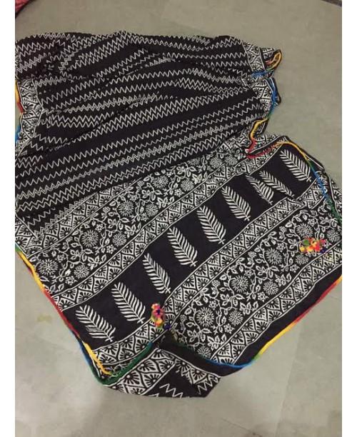 Cotton Block Print Saree(OUT STOCK)